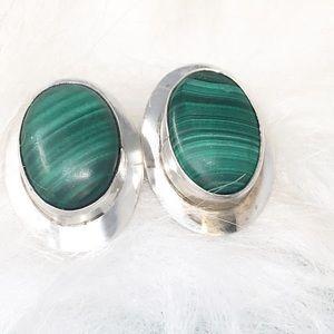 Malachite Sterling silver Modern Earrings~ Healing
